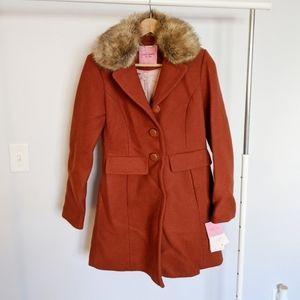 Kate Spade Faux Fur Walker Wool Pea Coat